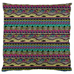 Aztec Pattern Cool Colors Large Cushion Case (two Sides) by BangZart