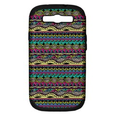 Aztec Pattern Cool Colors Samsung Galaxy S Iii Hardshell Case (pc+silicone) by BangZart