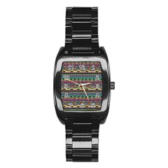 Aztec Pattern Cool Colors Stainless Steel Barrel Watch by BangZart