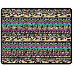 Aztec Pattern Cool Colors Double Sided Fleece Blanket (medium)  by BangZart