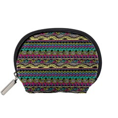 Aztec Pattern Cool Colors Accessory Pouches (small)  by BangZart