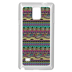 Aztec Pattern Cool Colors Samsung Galaxy Note 4 Case (white) by BangZart