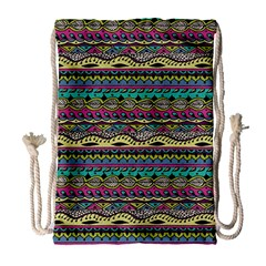 Aztec Pattern Cool Colors Drawstring Bag (large) by BangZart