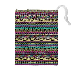 Aztec Pattern Cool Colors Drawstring Pouches (extra Large) by BangZart