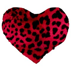 Leopard Skin Large 19  Premium Heart Shape Cushions by BangZart