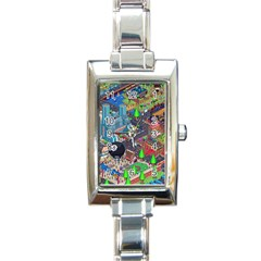 Pixel Art City Rectangle Italian Charm Watch by BangZart
