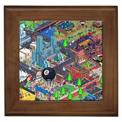 Pixel Art City Framed Tiles by BangZart