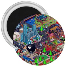 Pixel Art City 3  Magnets by BangZart