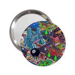 Pixel Art City 2 25  Handbag Mirrors by BangZart