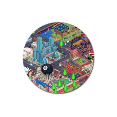 Pixel Art City Magnet 3  (round) by BangZart