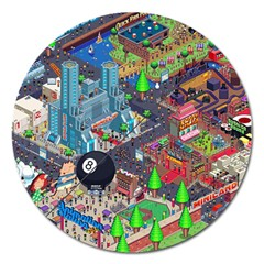 Pixel Art City Magnet 5  (round) by BangZart