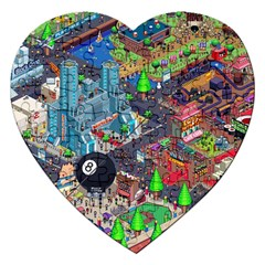 Pixel Art City Jigsaw Puzzle (heart) by BangZart