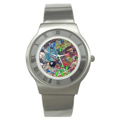 Pixel Art City Stainless Steel Watch by BangZart