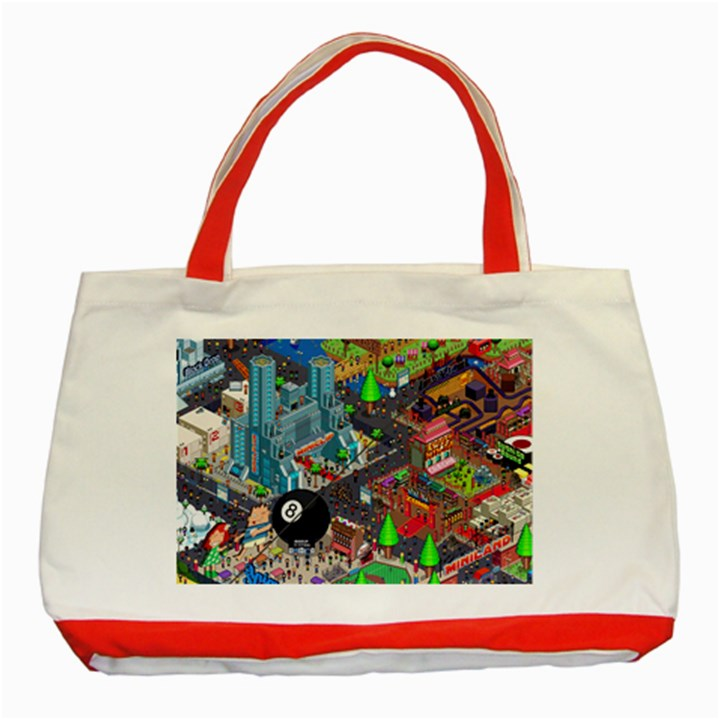 Pixel Art City Classic Tote Bag (Red)