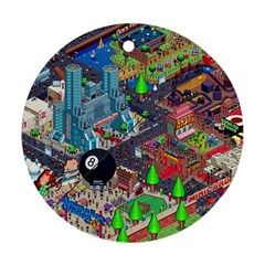 Pixel Art City Round Ornament (two Sides)
