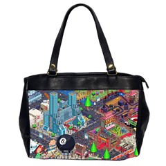 Pixel Art City Office Handbags (2 Sides)  by BangZart