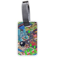 Pixel Art City Luggage Tags (one Side)  by BangZart