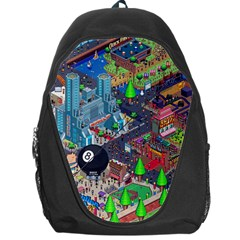 Pixel Art City Backpack Bag by BangZart
