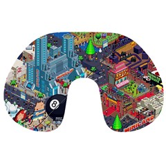 Pixel Art City Travel Neck Pillows by BangZart