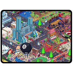 Pixel Art City Double Sided Fleece Blanket (large)  by BangZart