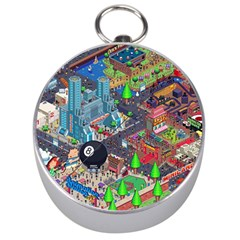 Pixel Art City Silver Compasses by BangZart