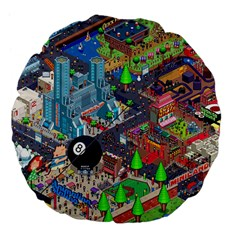 Pixel Art City Large 18  Premium Flano Round Cushions by BangZart