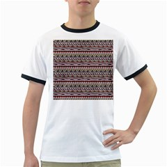 Aztec Pattern Patterns Ringer T Shirts by BangZart