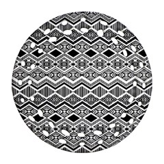 Aztec Design  Pattern Round Filigree Ornament (two Sides) by BangZart
