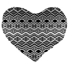 Aztec Design  Pattern Large 19  Premium Flano Heart Shape Cushions by BangZart
