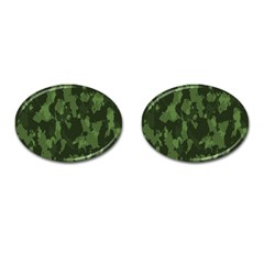 Camouflage Green Army Texture Cufflinks (oval) by BangZart