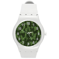 Camouflage Green Army Texture Round Plastic Sport Watch (m) by BangZart