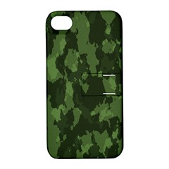 Camouflage Green Army Texture Apple Iphone 4/4s Hardshell Case With Stand by BangZart