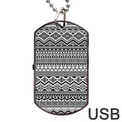 Aztec Pattern Design Dog Tag Usb Flash (two Sides) by BangZart