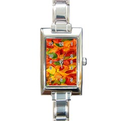 Leaves Texture Rectangle Italian Charm Watch by BangZart