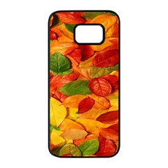 Leaves Texture Samsung Galaxy S7 Edge Black Seamless Case by BangZart