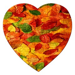 Leaves Texture Jigsaw Puzzle (heart) by BangZart