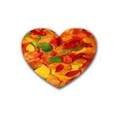 Leaves Texture Heart Coaster (4 Pack)  by BangZart
