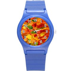Leaves Texture Round Plastic Sport Watch (s) by BangZart