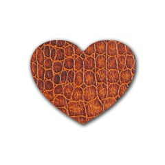 Crocodile Skin Texture Rubber Coaster (heart)  by BangZart