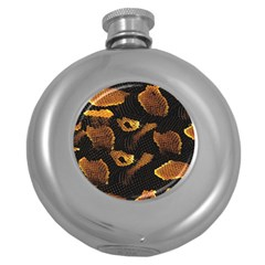 Gold Snake Skin Round Hip Flask (5 Oz) by BangZart