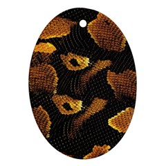 Gold Snake Skin Oval Ornament (two Sides) by BangZart