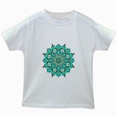 Ornate Mandala Kids White T Shirts by Valentinaart