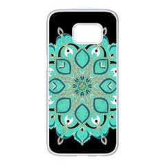 Ornate Mandala Samsung Galaxy S7 Edge White Seamless Case by Valentinaart