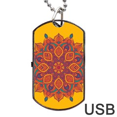 Ornate Mandala Dog Tag Usb Flash (two Sides) by Valentinaart