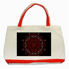 Ornate Mandala Classic Tote Bag (red) by Valentinaart
