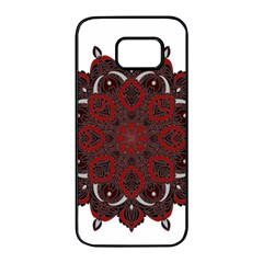 Ornate Mandala Samsung Galaxy S7 Edge Black Seamless Case by Valentinaart