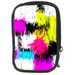 Colorful Blurry Paint Strokes                         Compact Camera Leather Case by LalyLauraFLM