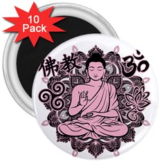Ornate Buddha 3  Magnets (10 Pack)  by Valentinaart