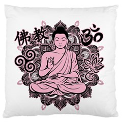 Ornate Buddha Large Flano Cushion Case (one Side) by Valentinaart