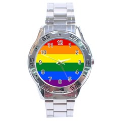Pride Rainbow Flag Stainless Steel Analogue Watch